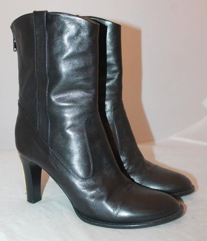black leather boots with gold detail 38 5 at 1stdibs