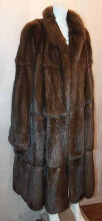 Valentino Vintage Brown Sable Fur Coat - L - circa 1980's .  This beautiful vintage fur coat is in excellent condition.  It features a gorgeous sable fur and a longer length.  Measurements: Shoulder to Shoulder: 18