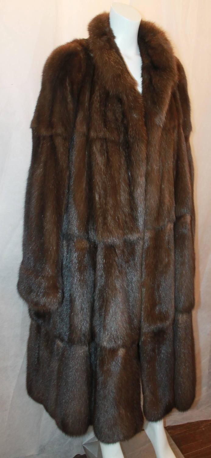 Valentino Vintage Brown Sable Fur Coat L Circa 1980 S