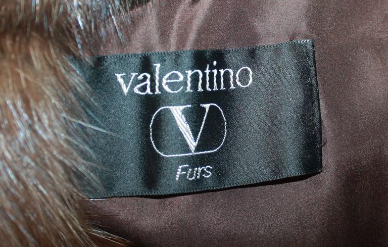 Women's Valentino Vintage Brown Sable Fur Coat - L - circa 1980's For Sale