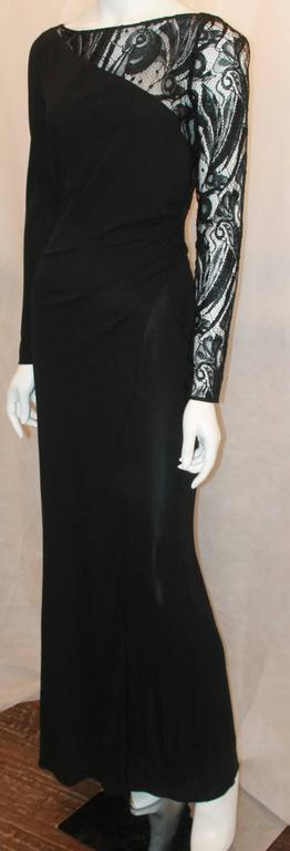 Emilio Pucci Black Silk Jersey and Lace Long Sleeve Wrap Gown - 8 2