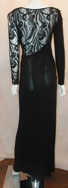 Emilio Pucci Black Silk Jersey and Lace Long Sleeve Wrap Gown - 8 4