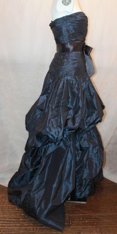 Oscar de la Renta Navy Silk Taffeta Strapless Gown - 14 3