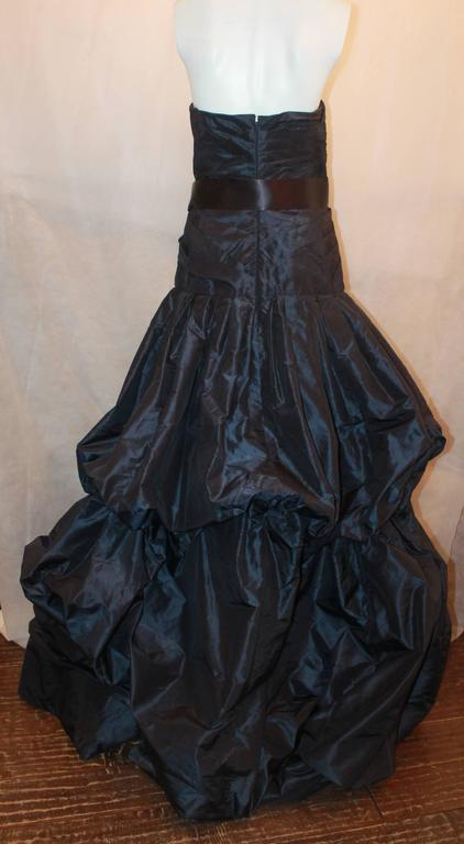 Oscar de la Renta Navy Silk Taffeta Strapless Gown - 14 4