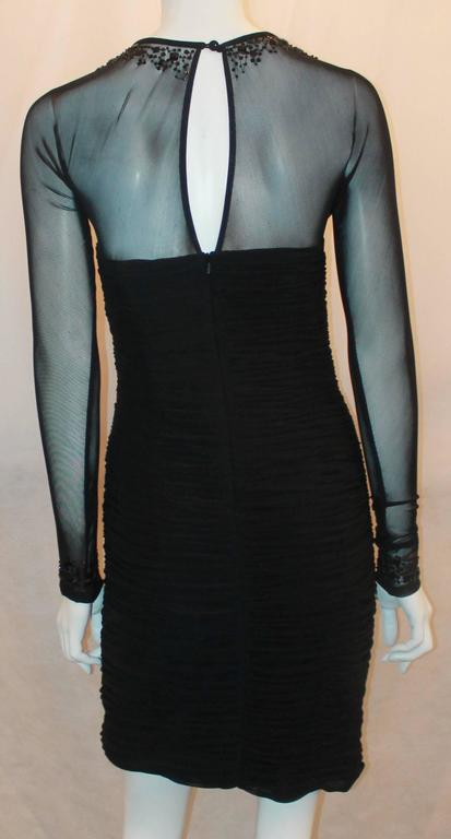 Women's Vicky Tiel Black Jersey Cocktail Dress w/ Beading Around the Neck & Wrists - 6 For Sale