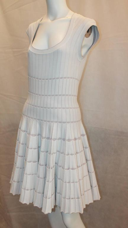 Azzedine Alaia White and Taupe Stretch Pleated Dress