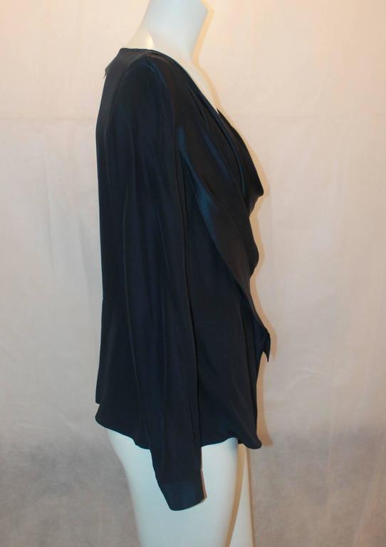 Black Oscar de la Renta Navy Silk Long Sleeve Blouse - 16 For Sale