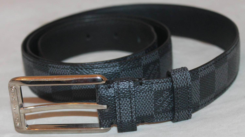 7ba01a2a874b Replica Louis Vuitton Belts AAAA Online Sale-17929. Louis Vuitton Black  Leather Damier Graphic Print Belt - 40 For Sale at 1stdibs