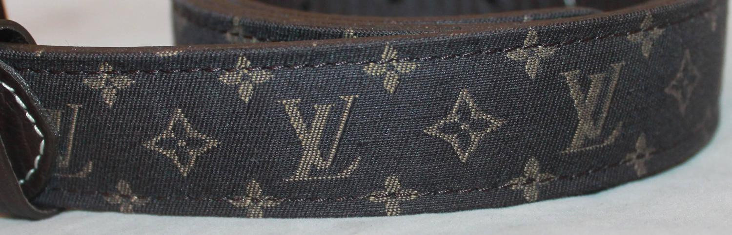 louis vuitton brown mini monogram belt w gold buckle