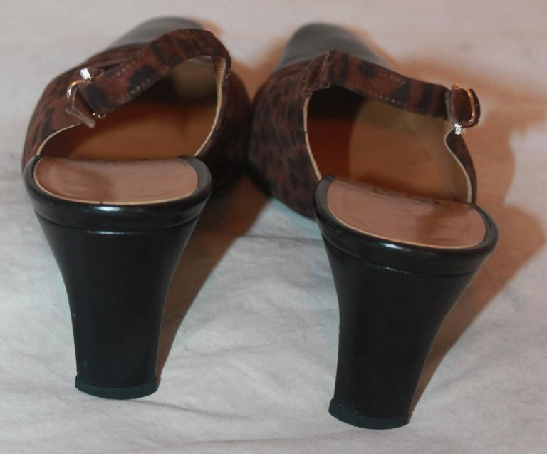 Salvatore Ferragamo Brown Leopard Print Suede Slingbacks - 7AA In Good Condition For Sale In Palm Beach, FL
