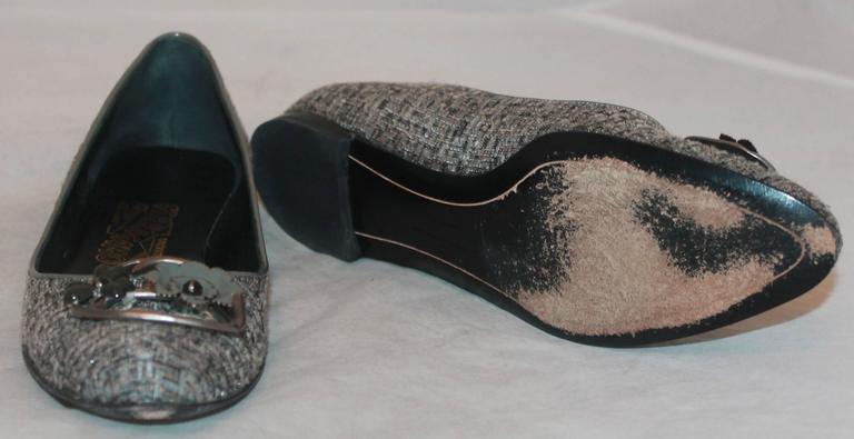 Women's Salvatore Ferragamo Grey Tweed w/ metal Flower Toe Buckle - 7AA For Sale