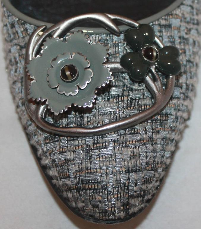 Salvatore Ferragamo Grey Tweed w/ metal Flower Toe Buckle - 7AA For Sale 1
