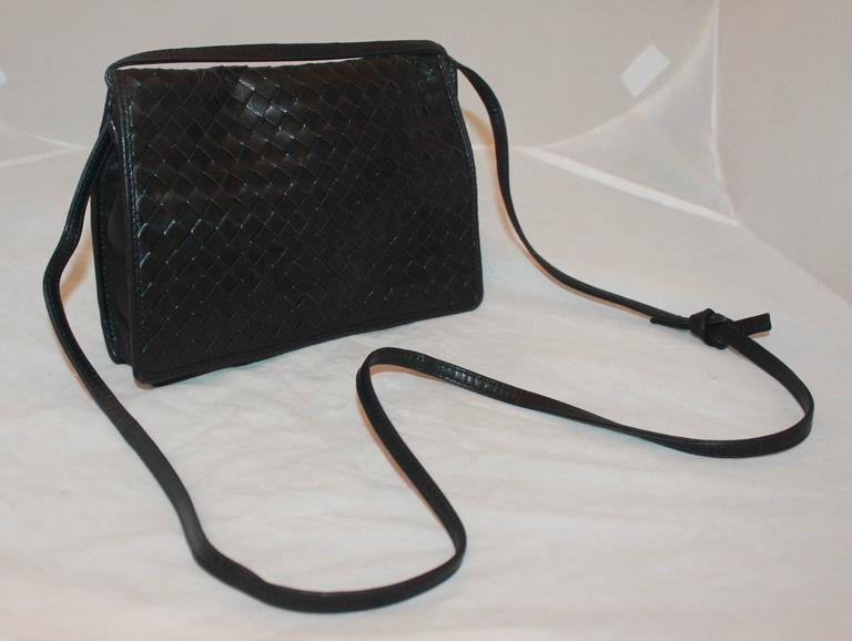 a170ecf7f Bottega Veneta Vintage Black Woven Leather Crossbody Bag - circa 80's. This  bag is in