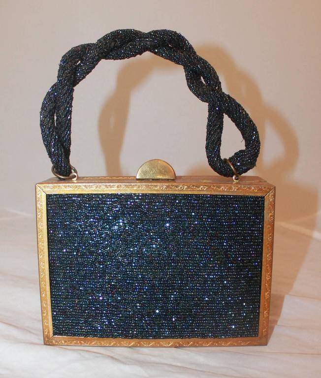Black Evans Navy & Gold Vintage Beaded & Metal Rectangular Handbag - Circa 1950's For Sale