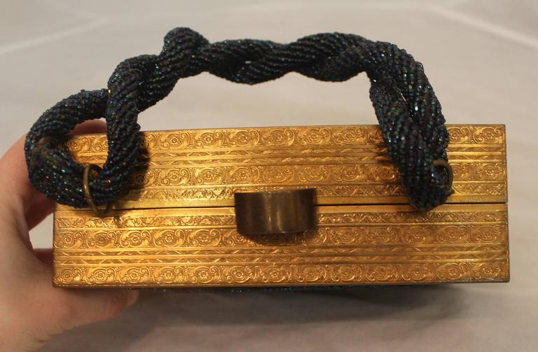 Women's Evans Navy & Gold Vintage Beaded & Metal Rectangular Handbag - Circa 1950's For Sale
