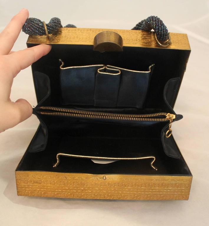 Evans Navy & Gold Vintage Beaded & Metal Rectangular Handbag - Circa 1950's For Sale 1