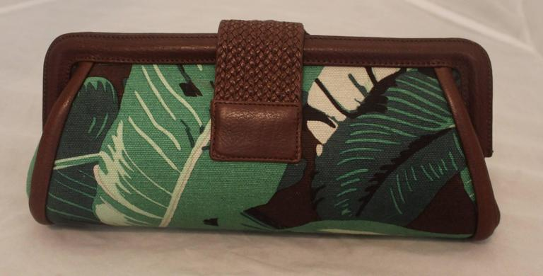 Michael Kors Green & Brown Tropical Print Clutch  2