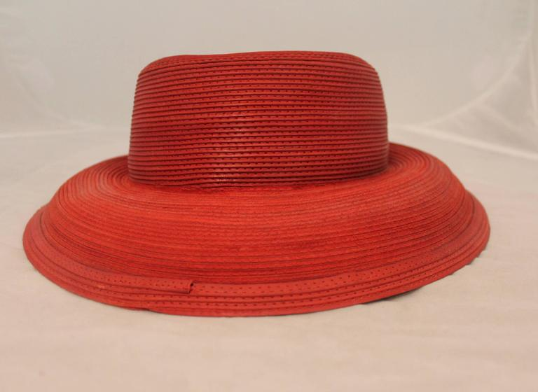Patricia Underwood Vintage Red Leather Hat - circa 1990's 2