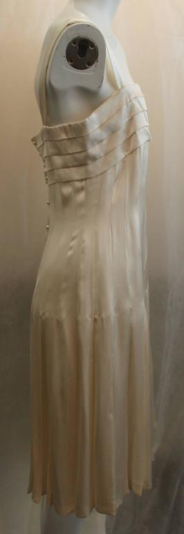 Brown Chanel Ivory Silk Pleated Flapper Inspired Dress - 40 - 05P For Sale