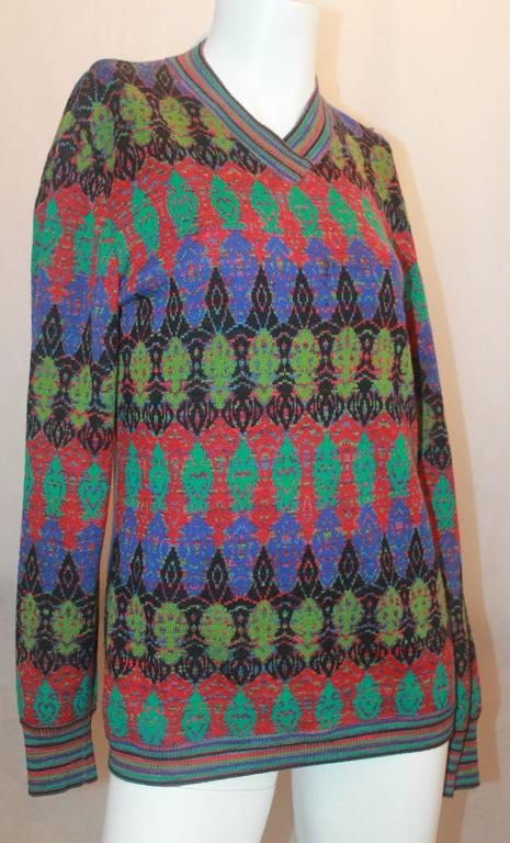 Missoni Vintage Multi Colored Knit Sweater w/ an Artsy Pattern - M -Circa 197...