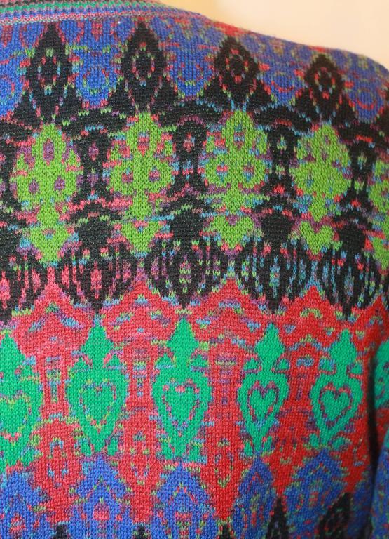 Missoni Vintage Multi Colored Knit Sweater w/ an Artsy Pattern - M -Circa 197...