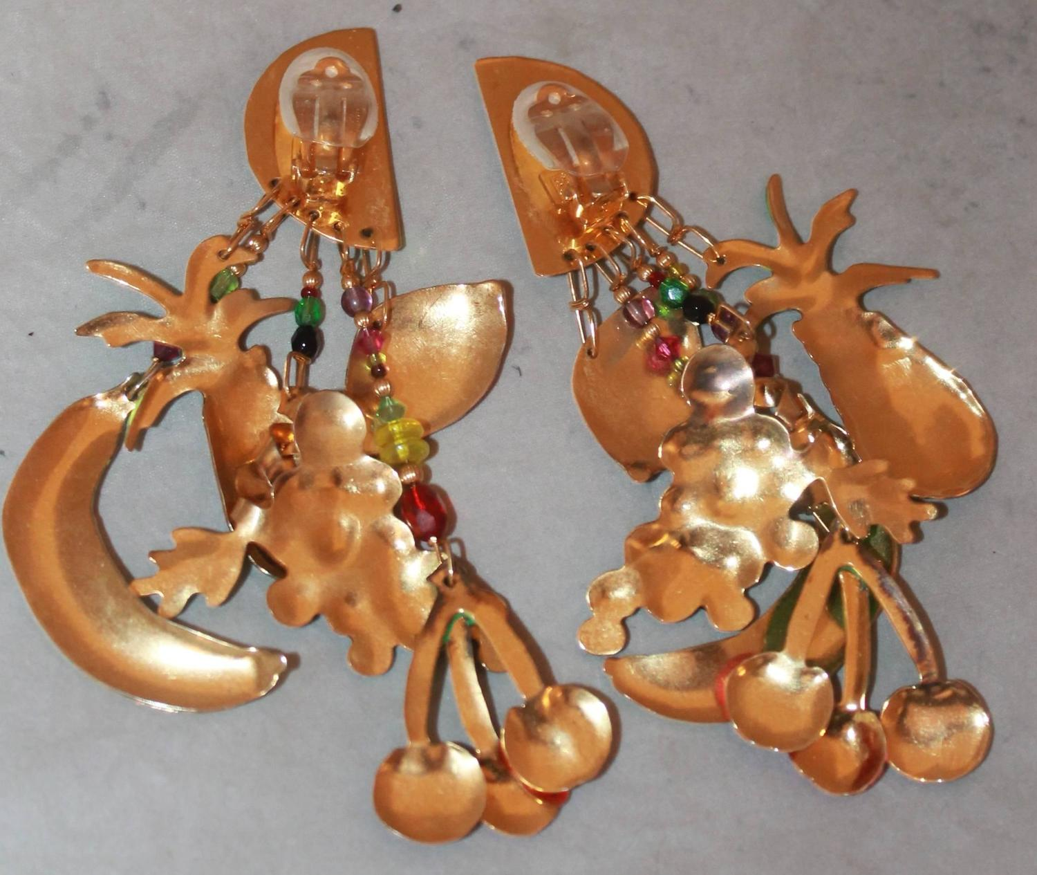 Palm Beach Chic Circa 1990s: Lunch At The Ritz Multi-Colored Fruit Themed Dangle Clip