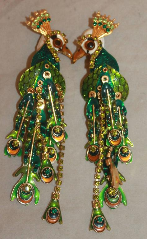 626487c89607d Lunch at the Ritz Green Peacock Dangle Clip-On Earrings - Circa ...