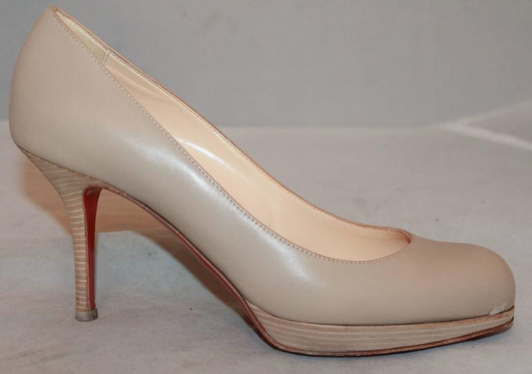 Christian Louboutin Nude Leather Wooden Pumps - 37.5 2