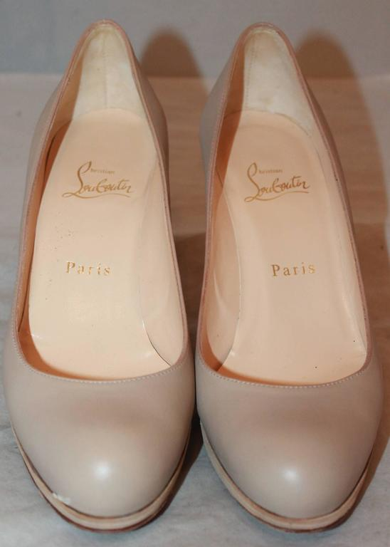 Christian Louboutin Nude Leather Wooden Pumps - 37.5 3