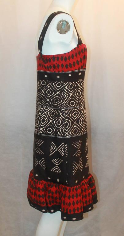 Oscar De La A Red Black Ivory Cotton Sleeveless Tribal Print Dress