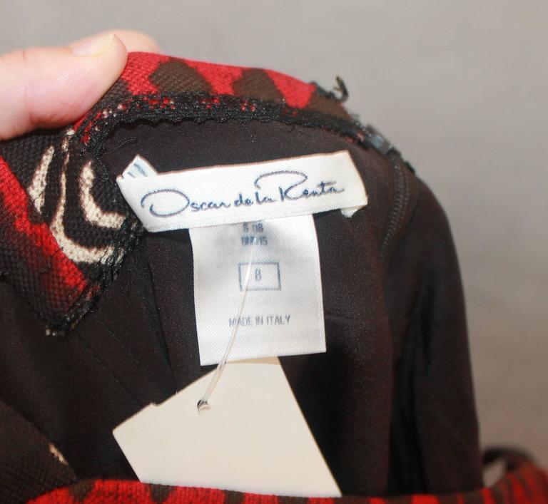 Oscar de la Renta Red, Black, & Ivory Cotton Sleeveless Tribal Print Dress - 8 For Sale 1