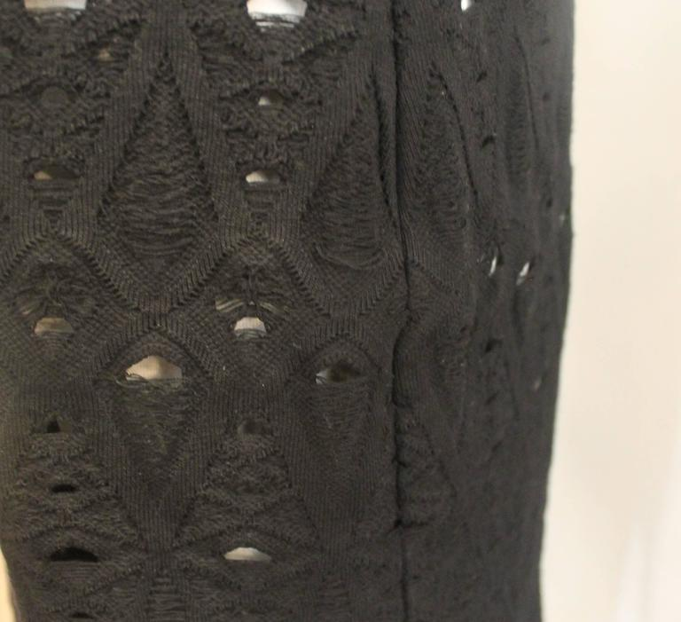 Chanel Black Crochet Sleeveless Shift Dress with White Underlay - 38 5