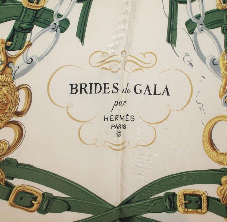 """Black Hermes Green, Gold, & Ivory """"Brides de Gala"""" Silk Scarf For Sale"""