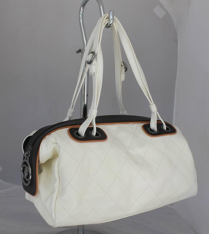 Chanel White and Black with Brown Trim Quilted Lambskin Shoulder Bag - PHW 3