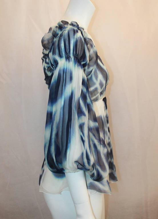 Roberto Cavalli Blue & White Printed Silk Chiffon Blouse - 38 3
