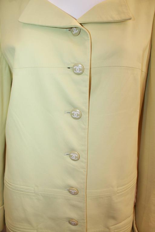 Beige Chanel Chartreuse Lambskin 3/4 Coat - 40 - 04C  For Sale