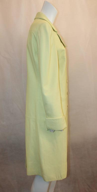 Chanel Chartreuse Lambskin 3/4 Coat - 40 - 04C  In Excellent Condition For Sale In Palm Beach, FL
