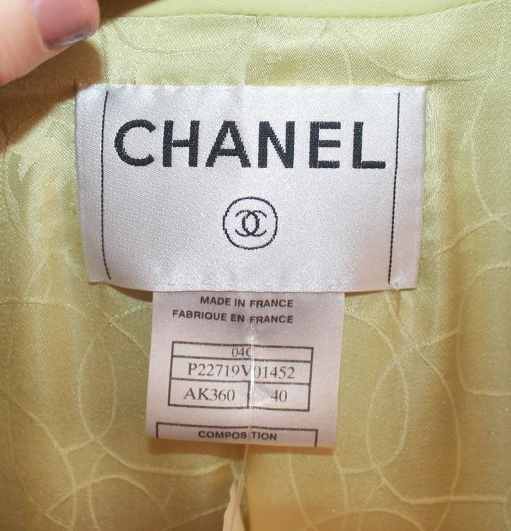 Chanel Chartreuse Lambskin 3/4 Coat - 40 - 04C  For Sale 2