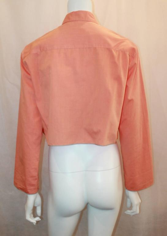 Women's Chanel Vintage Orange Cotton Collared Cropped Top - 36 - 99P For Sale
