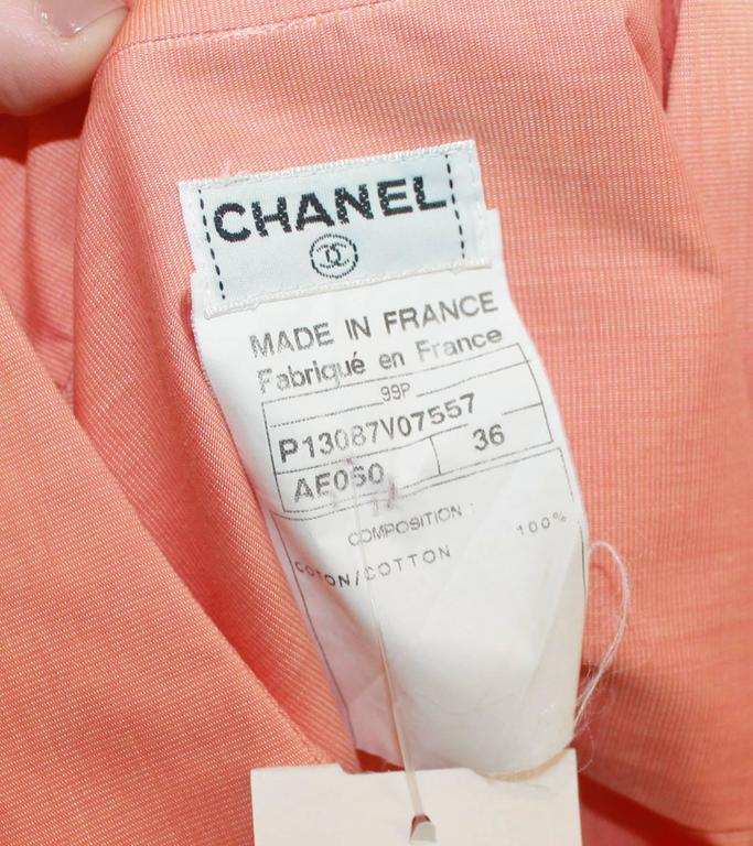 Chanel Vintage Orange Cotton Collared Cropped Top - 36 - 99P For Sale 1