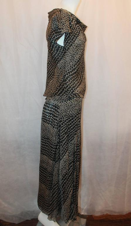 Chanel Black & Tan Silk Chiffon Printed Top & Skirt Set - 40 - 99P  In Excellent Condition For Sale In Palm Beach, FL