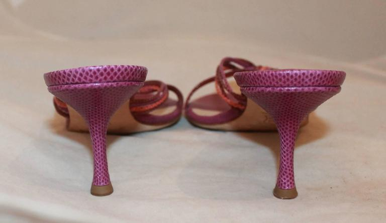 Jimmy Choo Purple and Coral Lizard Woven Slide Heels - 39 In Excellent Condition For Sale In Palm Beach, FL
