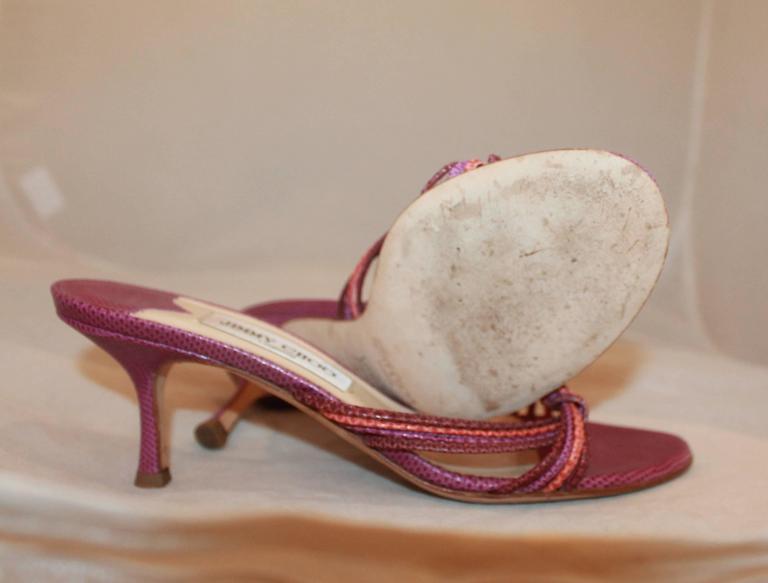 Jimmy Choo Purple and Coral Lizard Woven Slide Heels - 39 For Sale 1