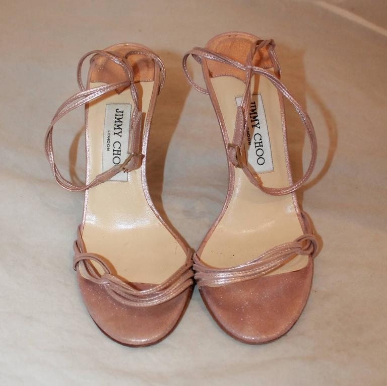 Gray Jimmy Choo Rose Gold Woven Thin Strap Sandals w/ Ankle Strap - 37 For Sale