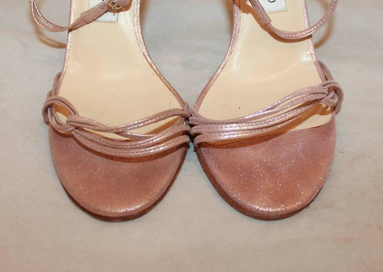 Jimmy Choo Rose Gold Woven Thin Strap Sandals w/ Ankle Strap - 37 In Good Condition For Sale In Palm Beach, FL
