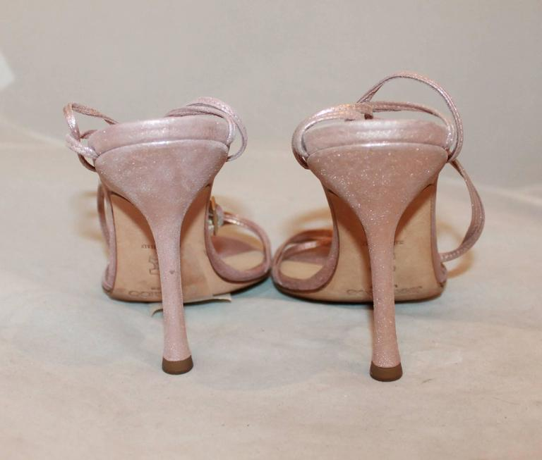 Women's Jimmy Choo Rose Gold Woven Thin Strap Sandals w/ Ankle Strap - 37 For Sale