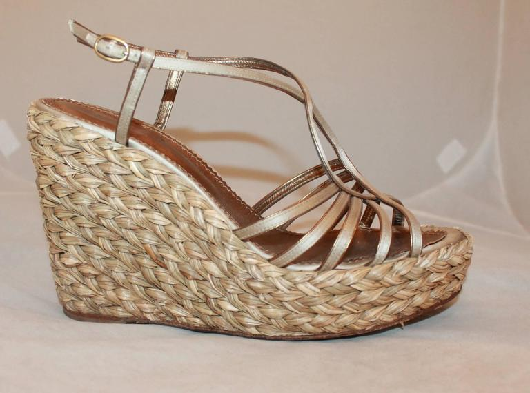 YSL Champagne Colored Satin Strappy Thick Straw Wedges - 41 2