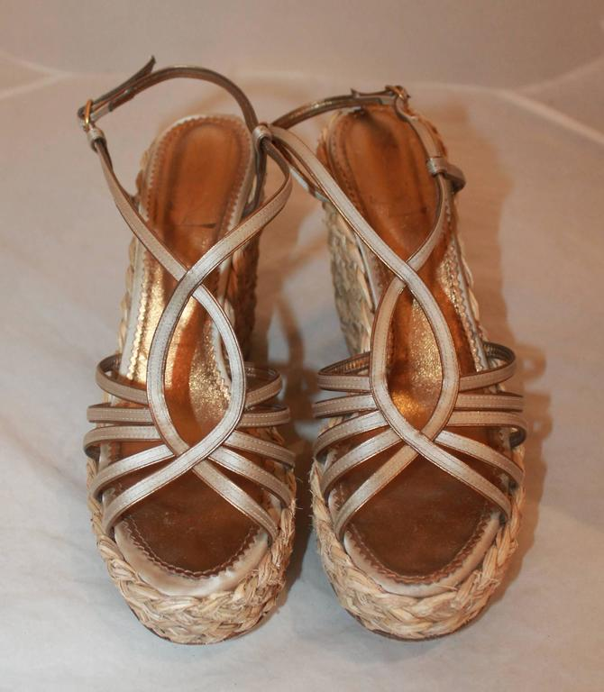 YSL Champagne Colored Satin Strappy Thick Straw Wedges - 41 3