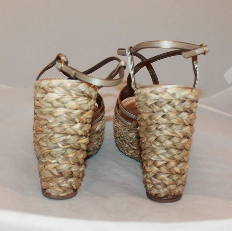 YSL Champagne Colored Satin Strappy Thick Straw Wedges - 41 4