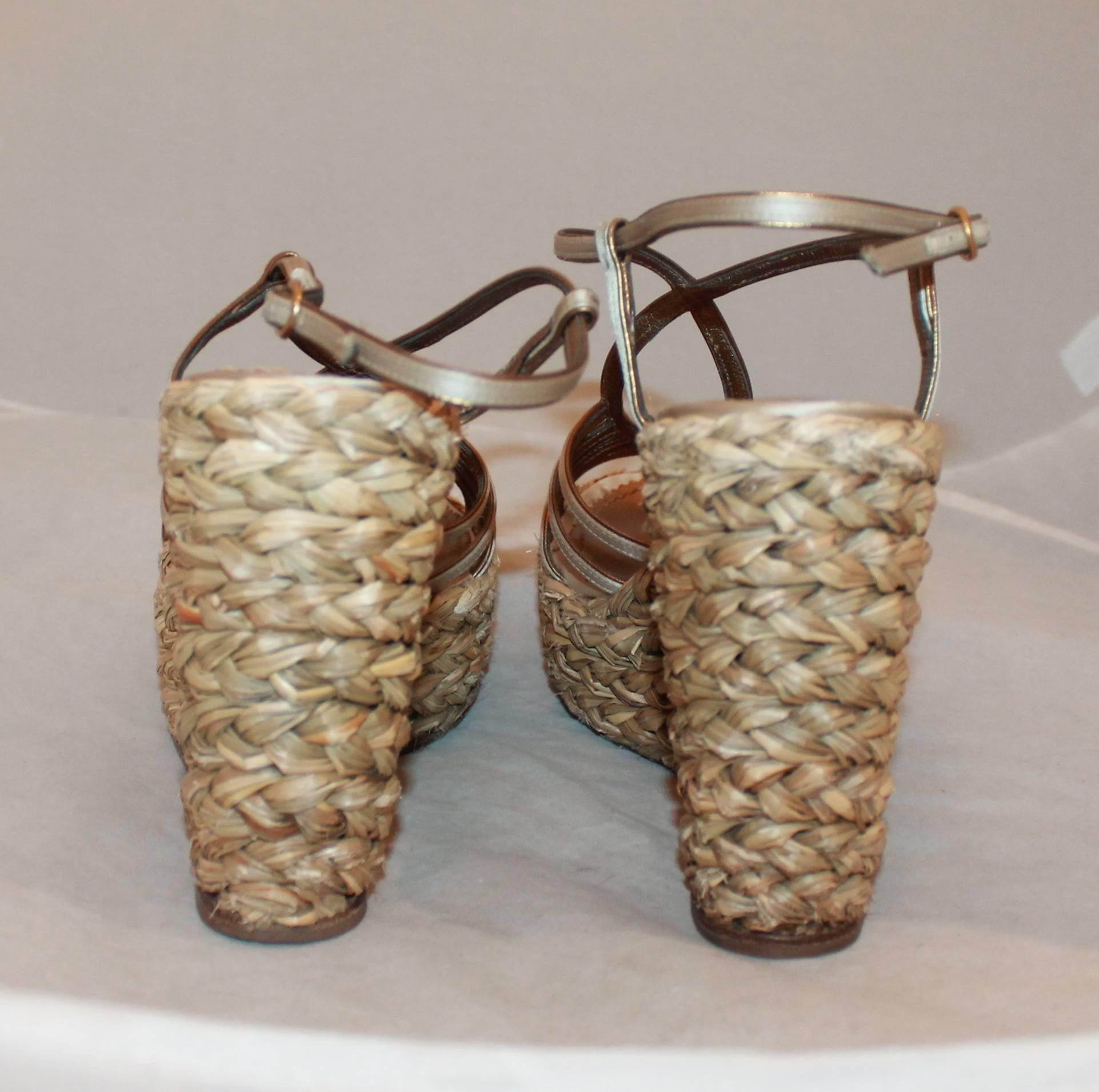ff7101b4a97 YSL Champagne Colored Satin Strappy Thick Straw Wedges - 41 For Sale at  1stdibs